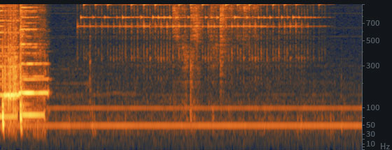 Типичные гармоники в спектре записи, сделанной на территории Евразии: гармоники кратны 50 Гц